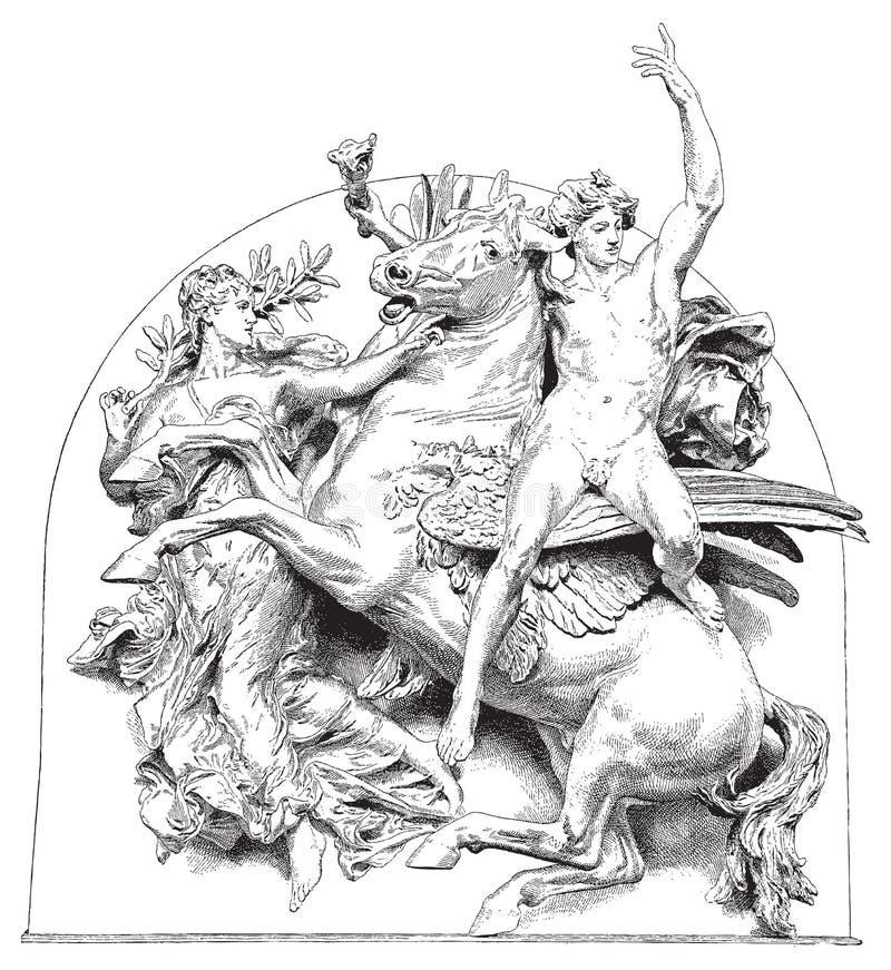 antik vektor för hästillustrationryttare royaltyfri illustrationer