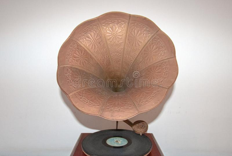 Antik Victor Victrola Portable Gramophone Phonograph skivspelare arkivfoto