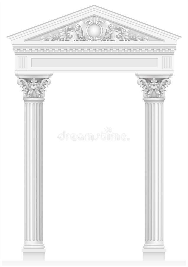 Antik vit kolonnad med gamla joniska kolonner stock illustrationer