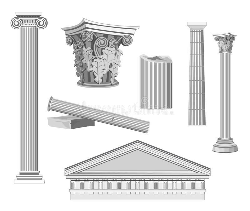 antika arkitektoniska element royaltyfri illustrationer