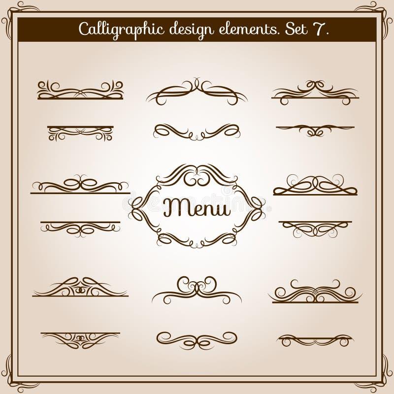 Antika beståndsdelar för dekorativ design för text Linjer för gräns för tappning för vektordiagram blom- calligraphic stock illustrationer