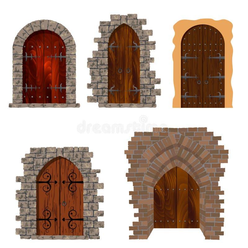 antika dörrar stock illustrationer