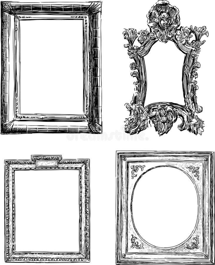Antika dekorativa ramar vektor illustrationer
