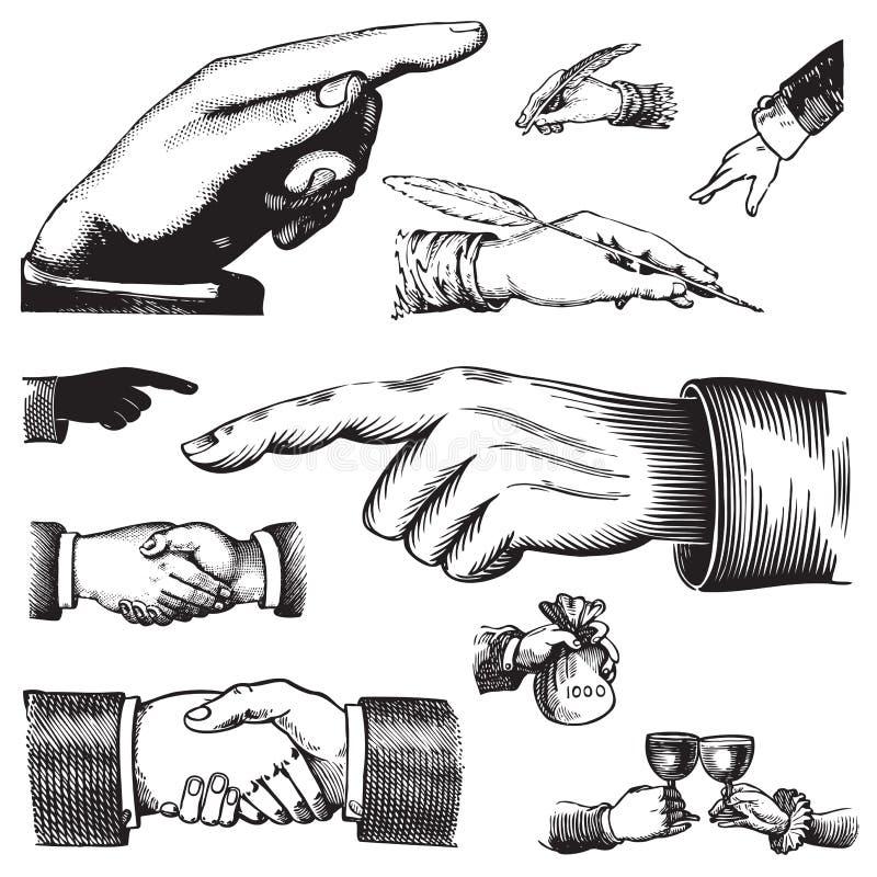 antika händer ställde in vektorn stock illustrationer