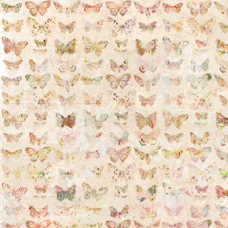 Antika illustrerad mönstrad bakgrund för vattenfärg fjärilar vektor illustrationer