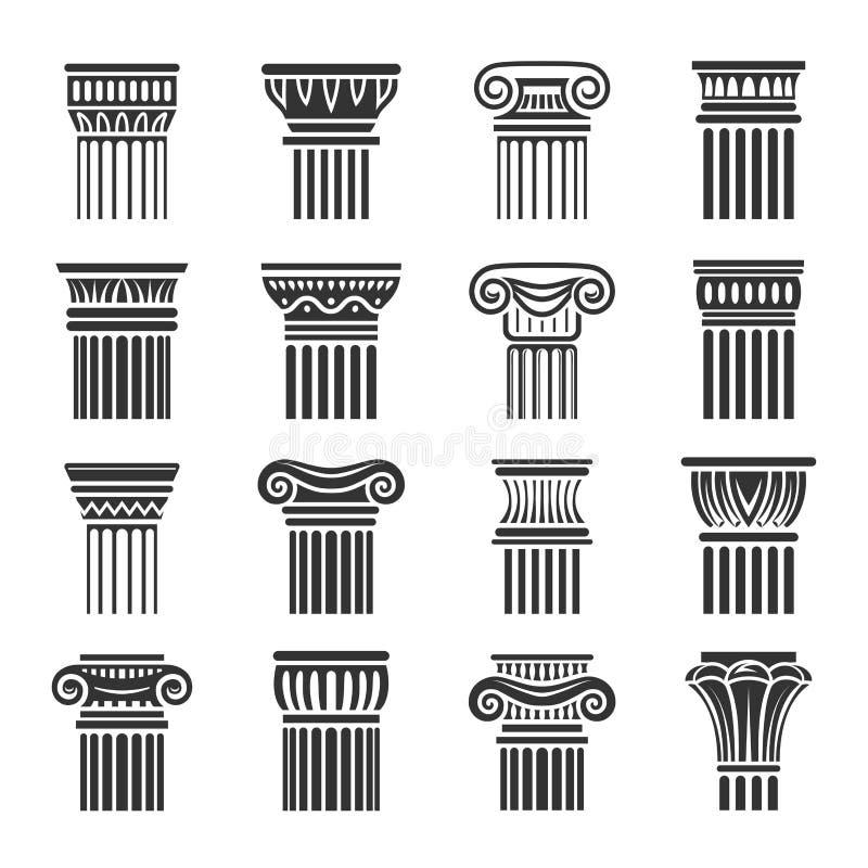 Antika kolonner i grekisk och romersk stil royaltyfri illustrationer