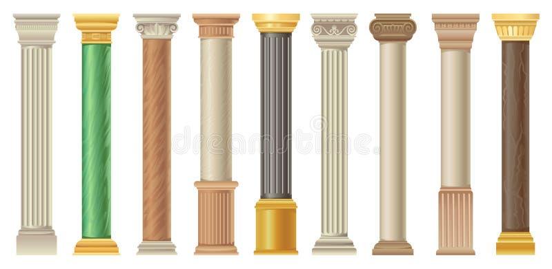 Antika kolonner och pilars ställde in, klassiska stenkolonner i olika stilvektorillustrationer på en vit bakgrund stock illustrationer