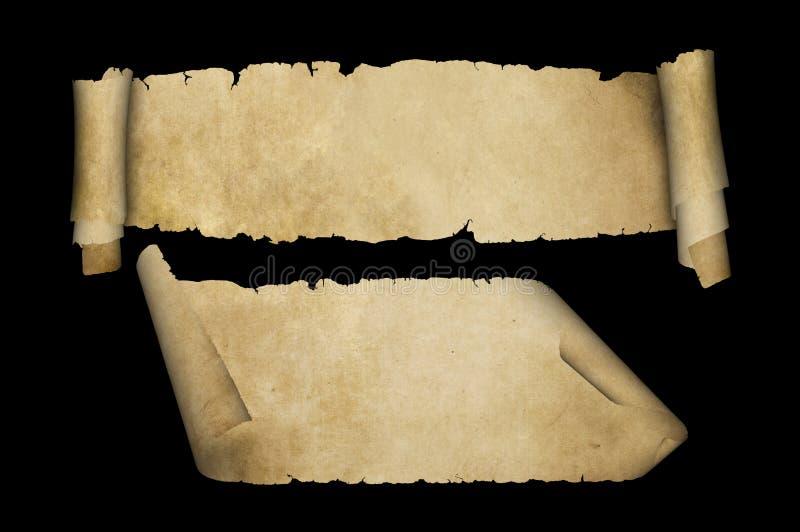 Antika pergamentsnirklar på svart bakgrund royaltyfri illustrationer
