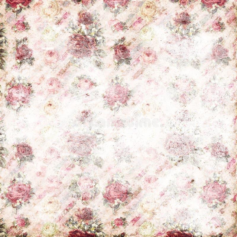 Antika rosa färger och den röda sjaskiga modellen för stilrosrepetition tapetserar royaltyfria bilder