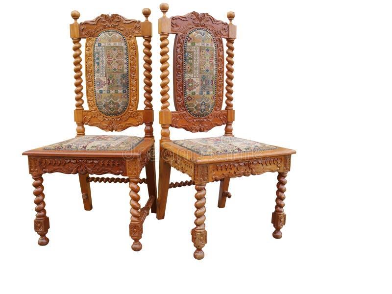 antika stolar utsmyckade två arkivbild