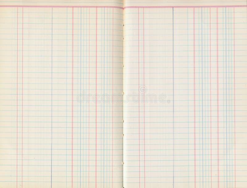 Antike alte Hauptbuchpapierauflage mit Linien stockfoto