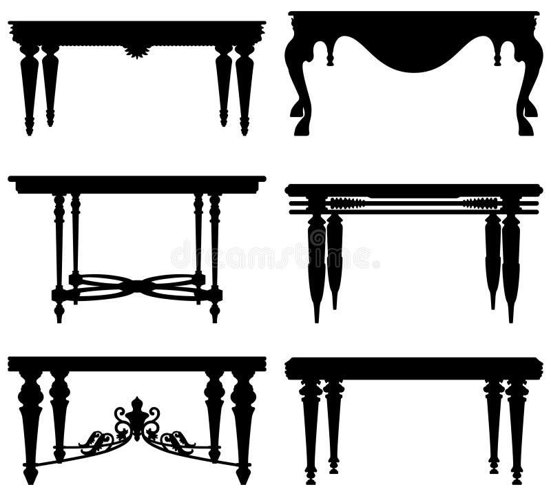Antike alte klassische Tabelle stock abbildung