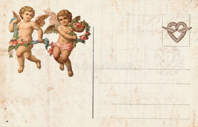 Antike Artvalentinsgruß ` s Postkarte, die Amor und Herz kennzeichnet lizenzfreies stockfoto