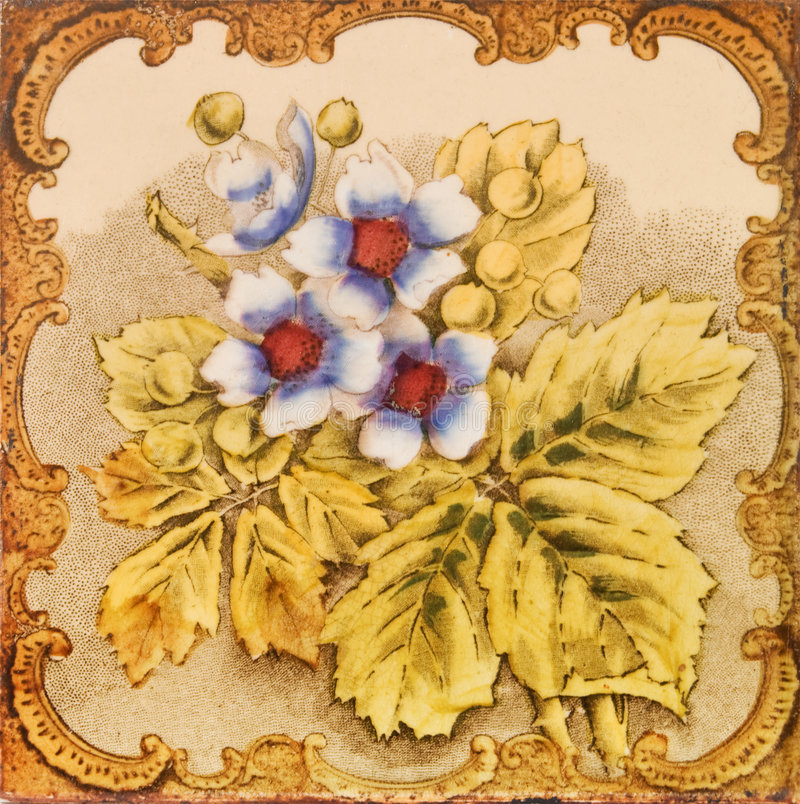 Antike Blumenfliese stockfotografie