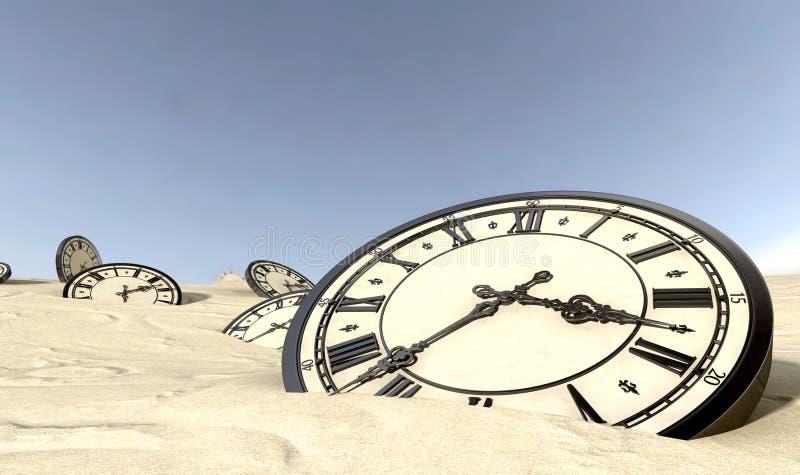 Antike Borduhren im Wüsten-Sand stockfoto