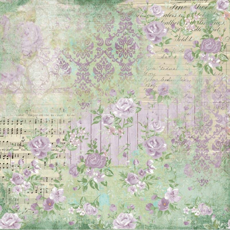 Antike botanische Collage - schäbiges Chic - Rosen - französische Eintagsfliegen - Noten - hölzerne Beschaffenheiten vektor abbildung