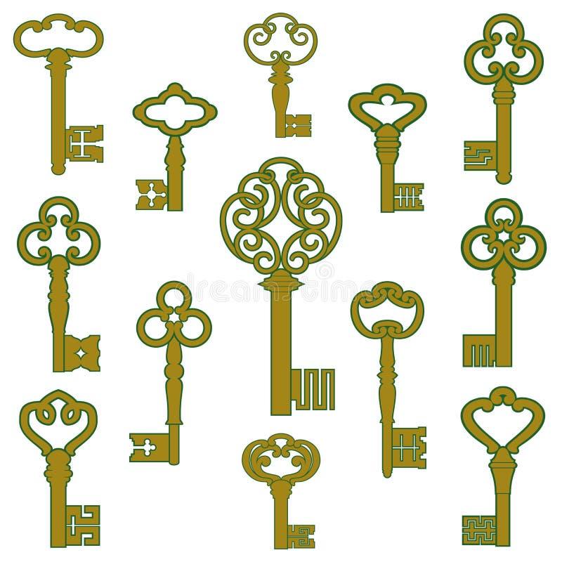 Antike Bronzeschlüssel mit Patinadekor lizenzfreie abbildung