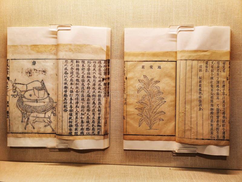 Antike chinesische Bücher über Landwirtschaft mit Diagrammen stockbilder