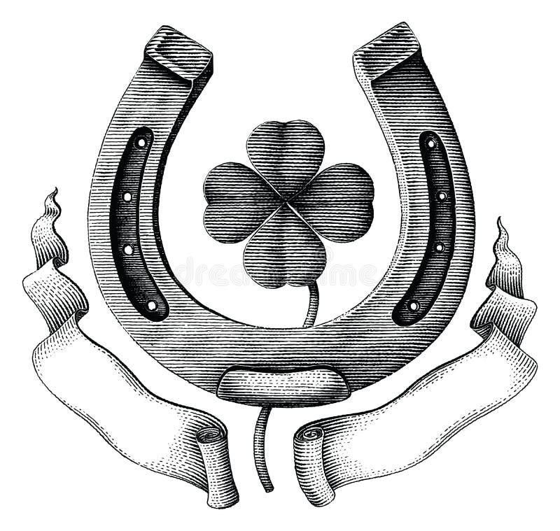 Antike des Hufeisen- und Kleeblattes mit der Illustrationsweinlese des Bandhandabgehobenen betrages, die Art lokalisiert auf weiß vektor abbildung