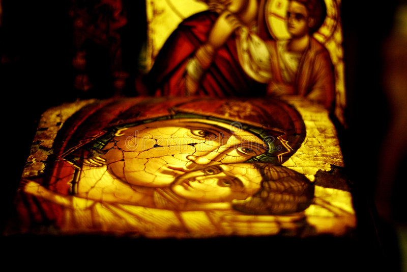 Antike fromme Ikone stockbilder