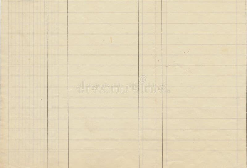 Antike gezeichnetes Hauptbuch-Papier stockbild