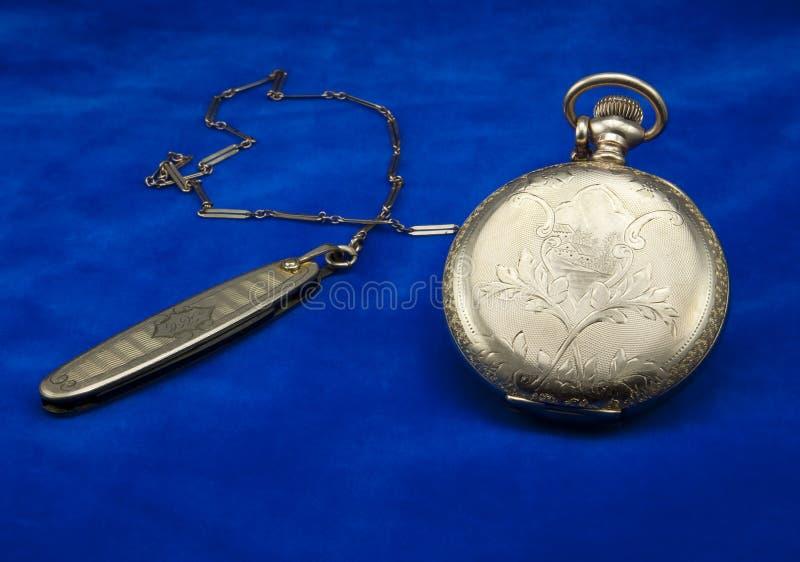 Antike Goldtaschen-Uhr und Fob stockfotografie