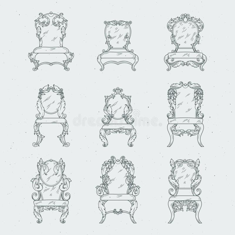 Antike italienische Stühle und Lehnsessel Vektormöbel im Weiß stock abbildung