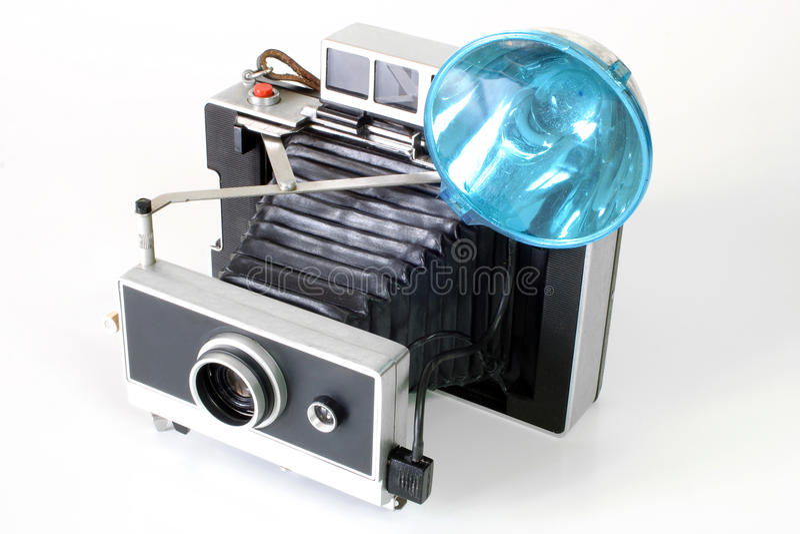Antike Kamera mit Blitz lizenzfreie stockbilder