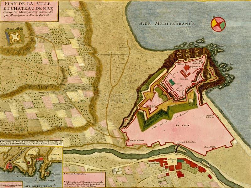 Antike Karte der Stadt und der Zitadelle von Nizza, Frankreich, stock abbildung