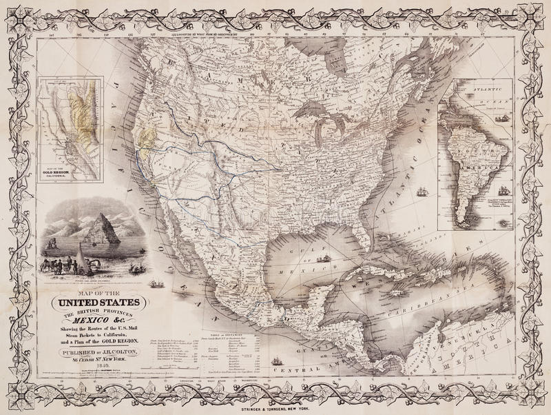 Antike Karte der USA und des Amerikas stockfotos