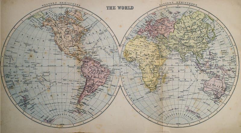 Antike Karte der Welt lizenzfreie stockfotos