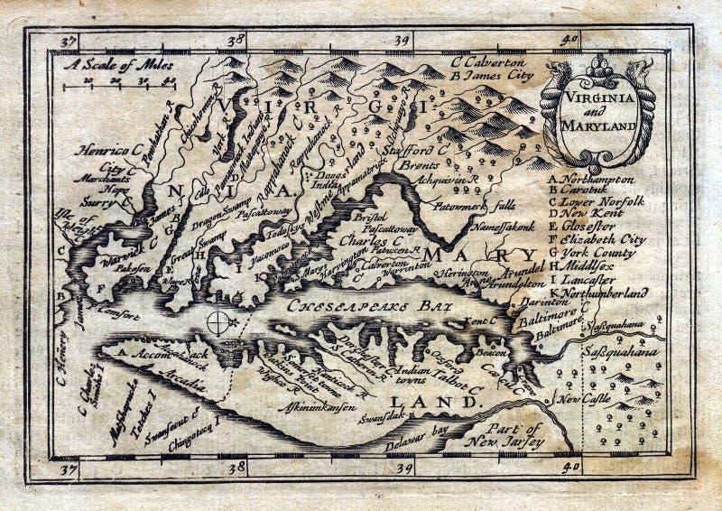 Antike Karte Kolonialvirginia Maryland der Drehzahl-1635