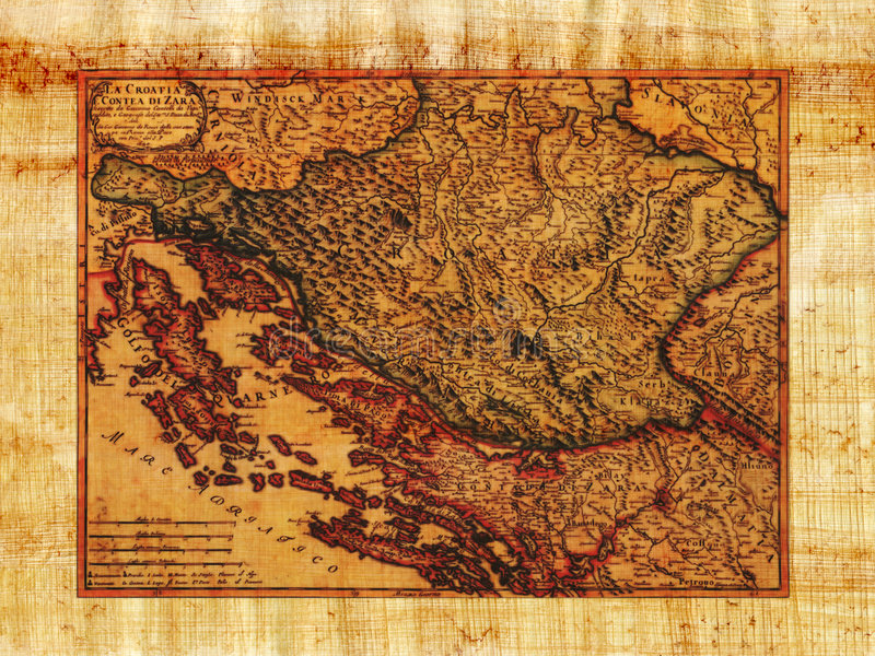 Antike Karte von Kroatien stockbilder