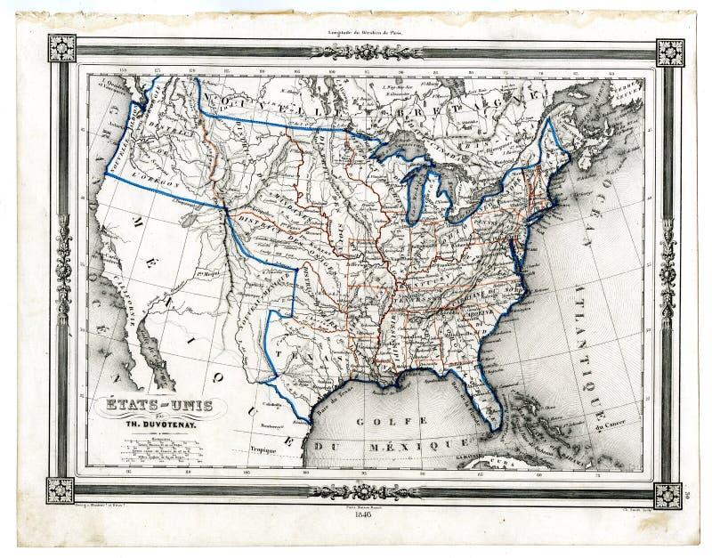 Antike Karte von Vereinigten Staaten 1846 vektor abbildung