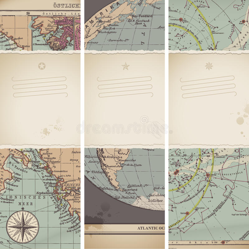 Antike Kartenfahnen lizenzfreie abbildung
