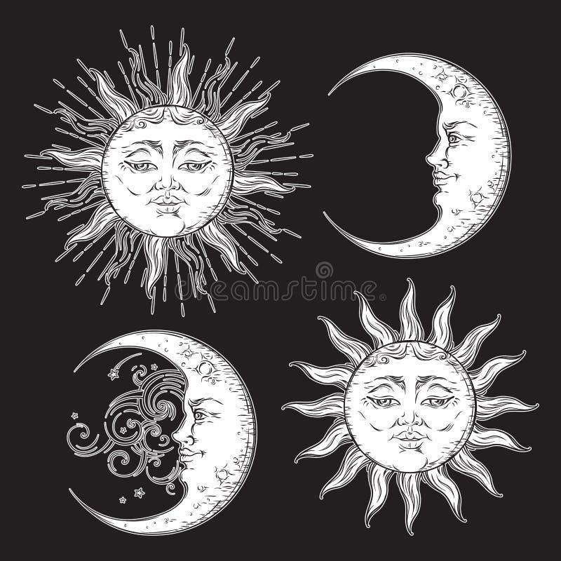 Antike Kunst-Sonnen- und Halbmondmondsatz der Art Hand gezeichneter Design-Vektorweiß Boho schickes lokalisiert auf schwarzem Hin stock abbildung