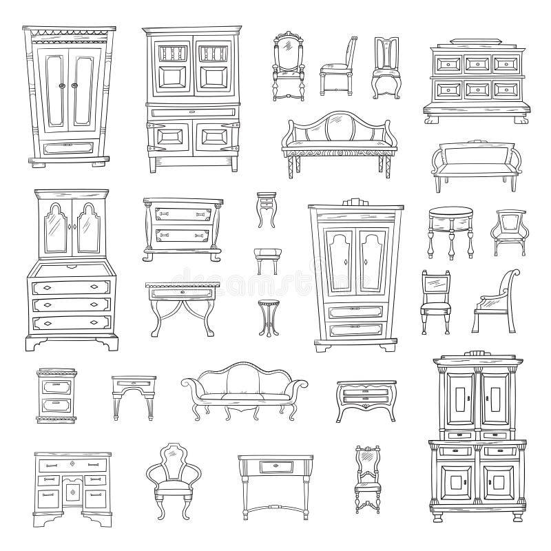 Antike Möbel eingestellt: Wandschrank, nightstand, Wandschrank, Stühle, nightstands und Büros lizenzfreie abbildung