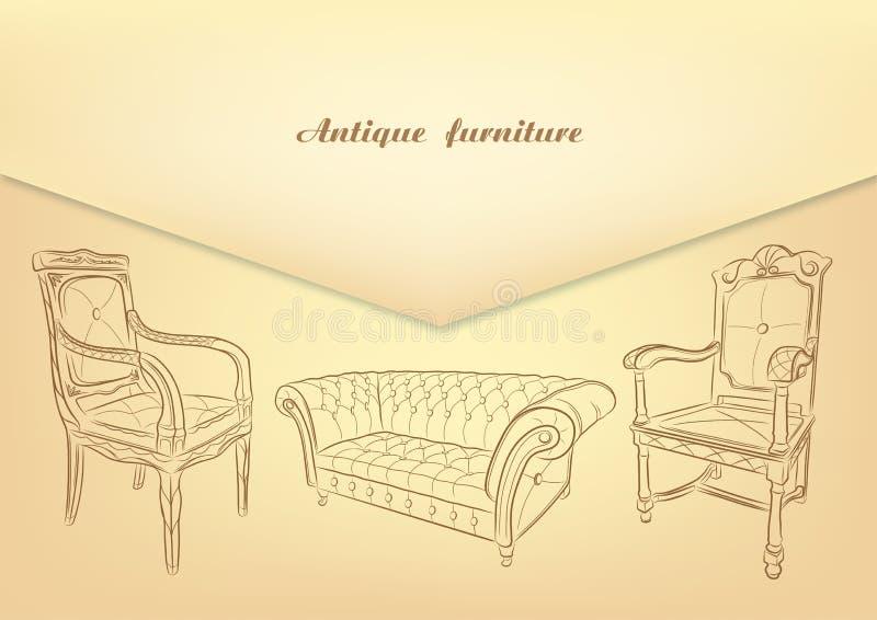 Antike Möbel Retro- Möbel Satz Hand gezeichnete antike Möbel lizenzfreie abbildung