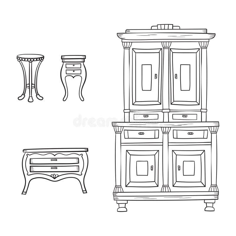 Antike Möbel stellten - den Wandschrank ein, nightstand und Büro an lokalisiert vektor abbildung