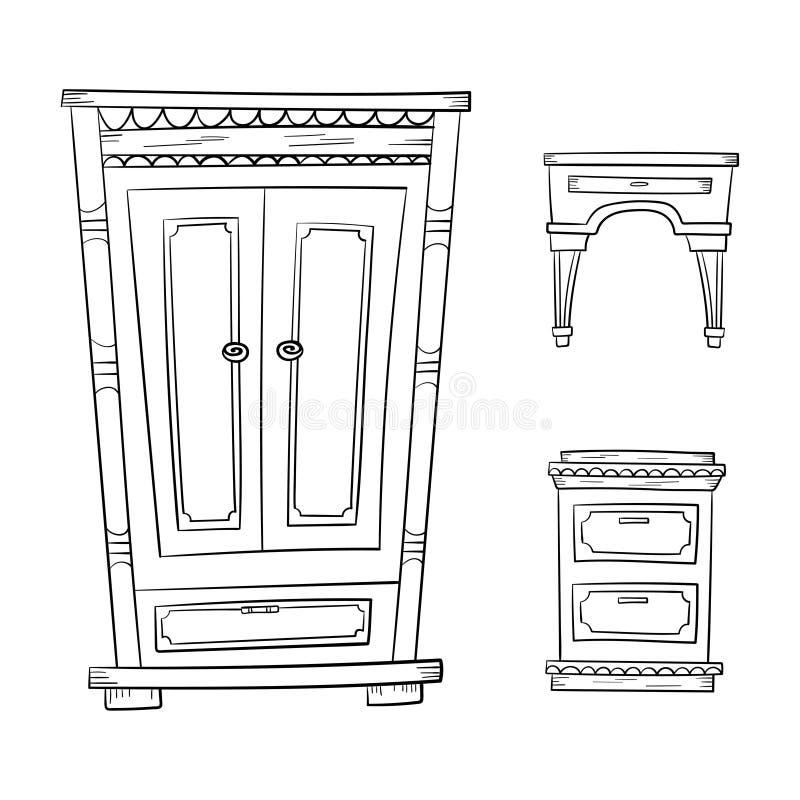 Antike Möbel stellten - Wandschrank, Aufbereiter, das nightstand ein, das auf Weiß lokalisiert wurde lizenzfreie abbildung