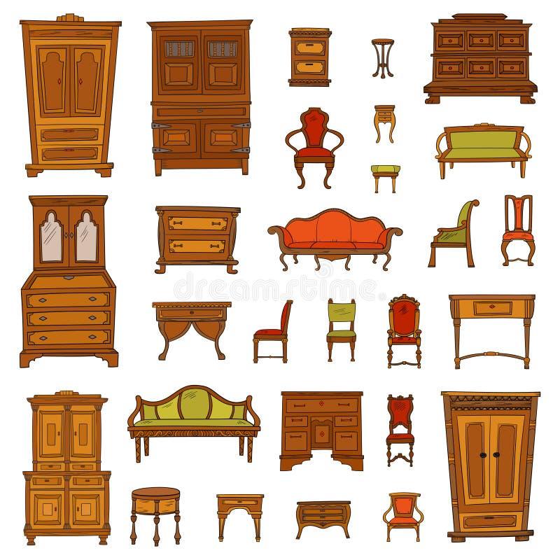 Antike Möbel stellten - Wandschrank, nightstand, Stühle, nightstands und Büros ein lizenzfreie abbildung