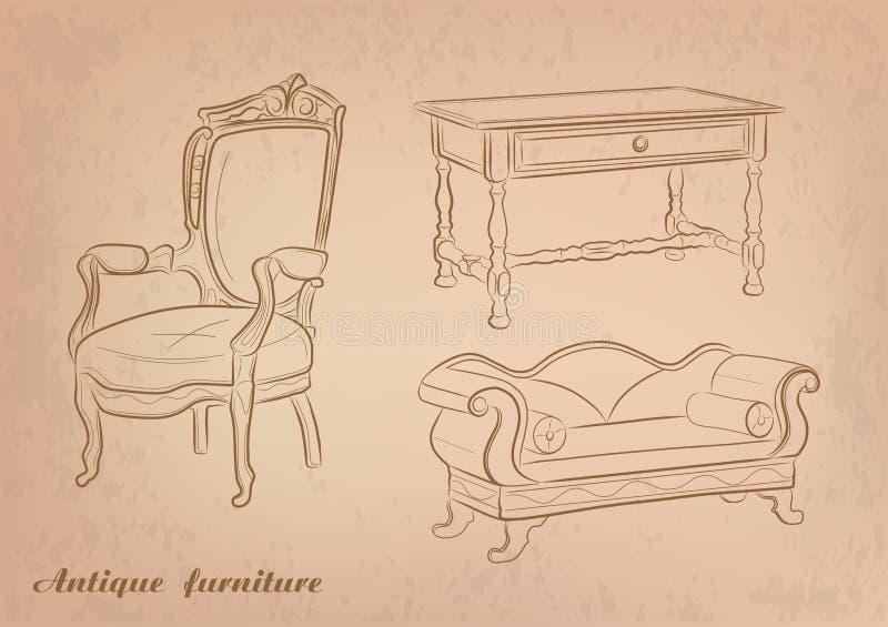Antike Möbel - Vektor stock abbildung