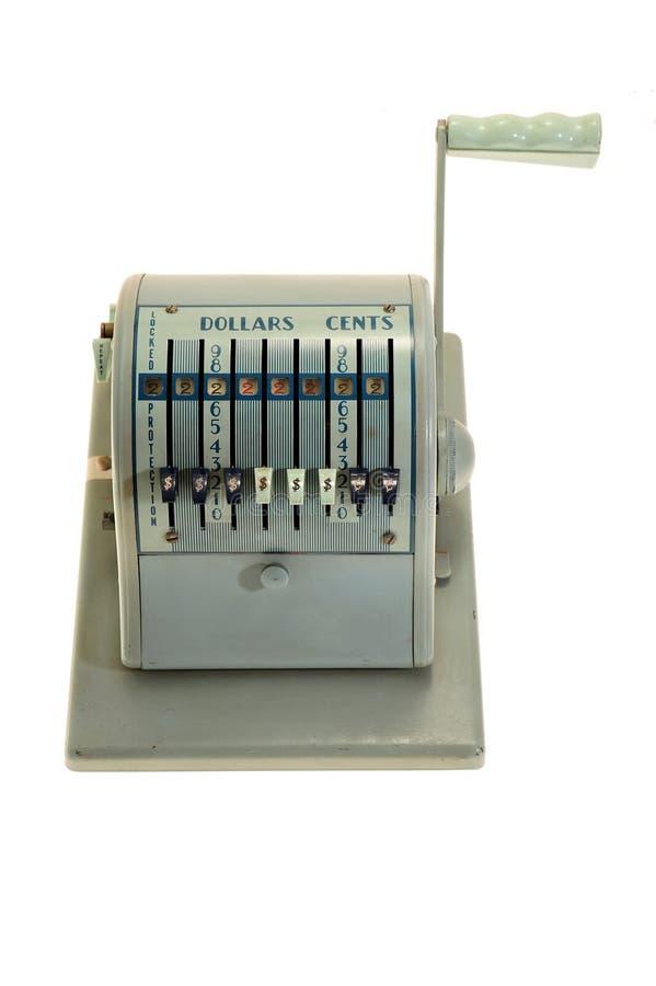 Antike Maschine zum Ausfüllen von Schecks lizenzfreie stockfotografie
