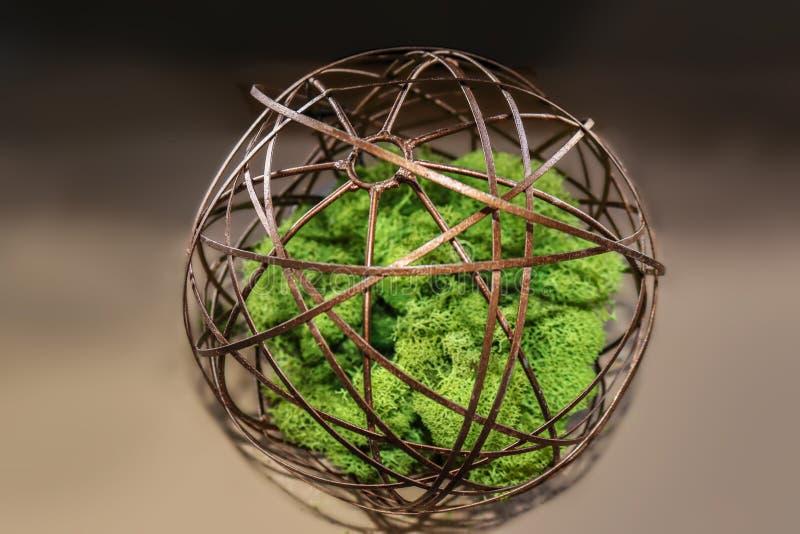 Antike Messingorbitalkugel des konzentrischen Kreises mit hellgrünem Moos in der Mitte auf Steigungsdunkelheit zum hellbraunen Hi stockbild