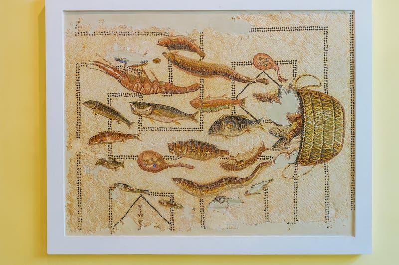 Antike Mosaiken im Sousse-Archäologie-Museum, Tunesien lizenzfreies stockbild