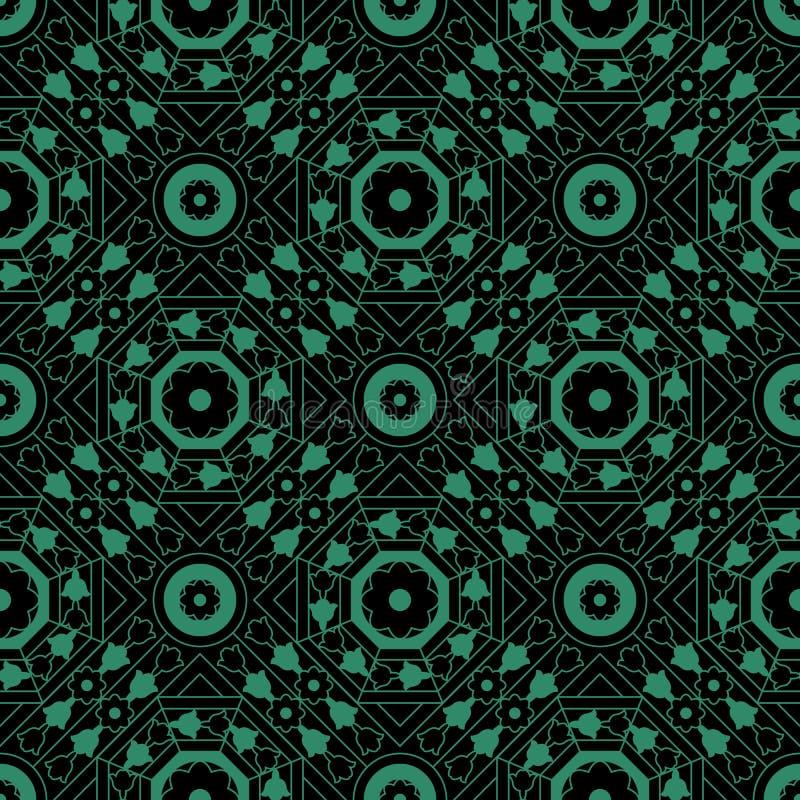 Antike nahtlose grüne Hintergrundquadratkreuz-Achteckblume lizenzfreie abbildung
