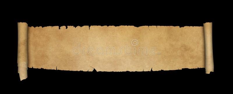 Antike Pergamentrolle auf schwarzem Hintergrund vektor abbildung