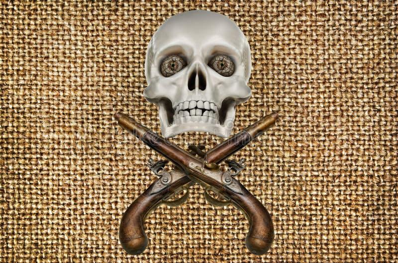 Antike Pistolen und Modell des Schädels auf Hintergrund des Stoffes stockfoto