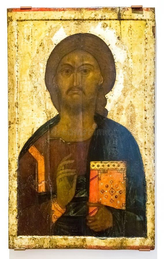 Antike russische orthodoxe Ikone von Christus Pantocrator gemalt auf w stockbild
