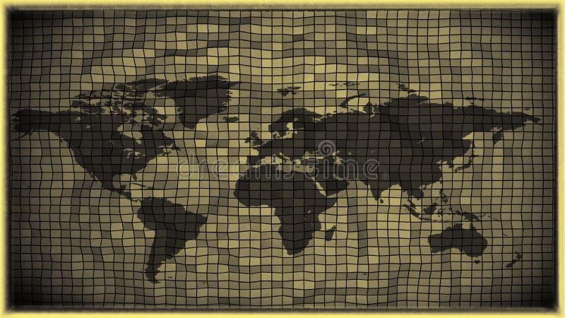 antike Schwarzweiss-Weltkarte des Effektes 3d lizenzfreie abbildung